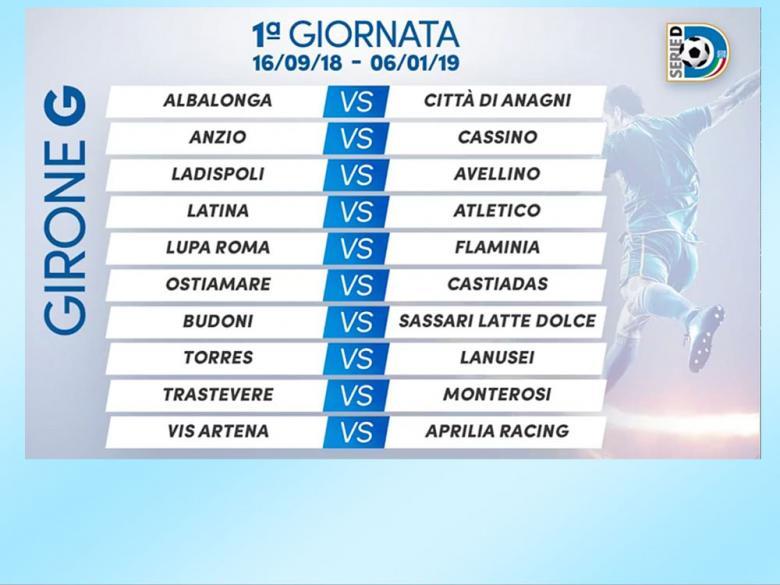 Calendario Serie A 1 Giornata.Calendario Serie D Il 16 Settembre I Derby Budoni Latte