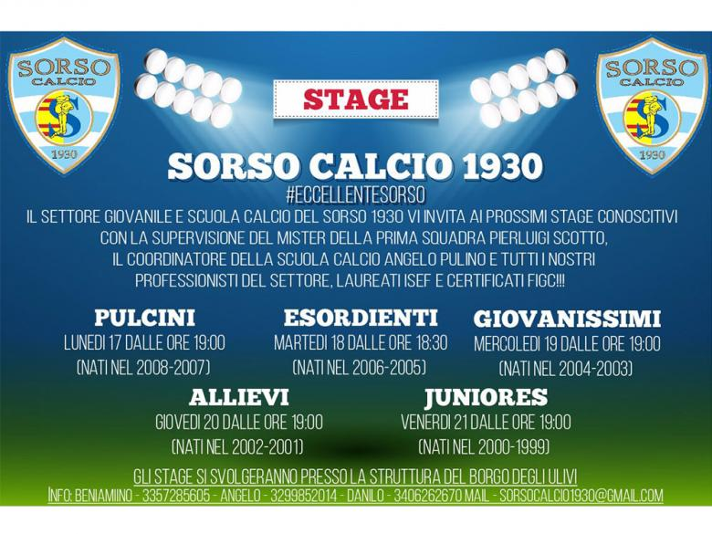 Sorso 1930, stage